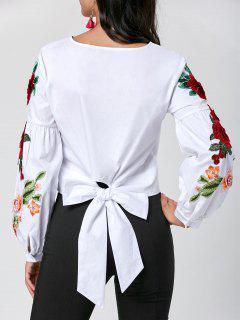 Appliqued Lantern Sleeve Crop Blouse - White M