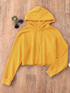 Pullover Cropped Sporty Hoodie - Mustard M