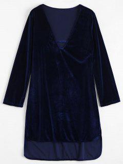 Plunging Neck Velvet High Low Dress - Royal S