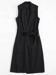 Invisible Pockets Lapel Belted Longline Waistcoat - Deep Gray Xl