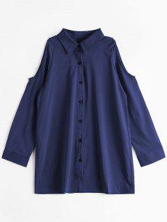 Cold Shoulder Button Up Longline Shirt - Deep Blue Xl
