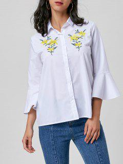 Floral Embroidery Bell Sleeve Shirt - White M