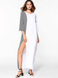 High Slit Striped Drop Shoulder Maxi Dress - White L