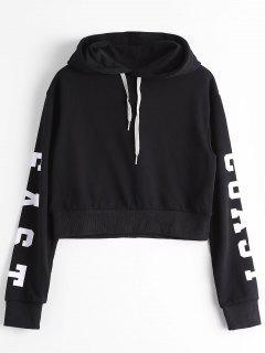 Drop Shoulder Letter Drawstring Hoodie - Black M