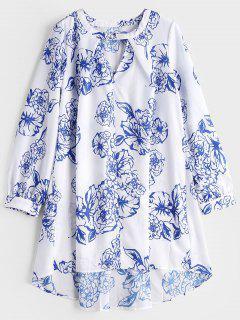 Hohes Niedriges Kleid Mit Schlüsselloch Hals Und Blumendruck  - Weiß L