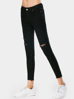 Stretchy Skinny Destroyed Pencil Jeans - Black L