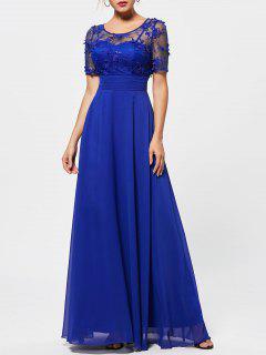 Sehen Sie Thru Floral Lace Empire Taille Abendkleid - Blau 2xl