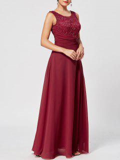 Lace Up Rhinestone Ruched Evening Dress - Wine Red 2xl