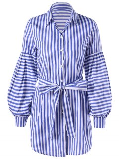 Striped Tie Belt Lantern Sleeve Shirt Dress - Blue Stripe L