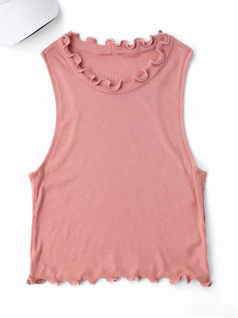best Cropped Ruff Collar Sporty Top - PINK ONE SIZE Mobile