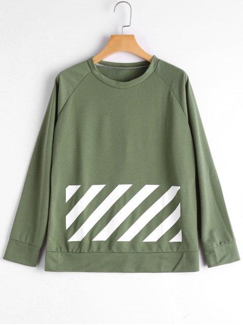 women's Raglan Sleeve Graphic Sweatshirt - GREEN S Mobile