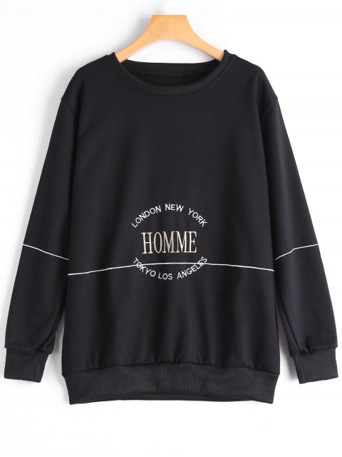 trendy Letter Embroidered Sweatshirt - BLACK L Mobile