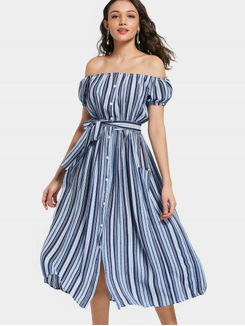 affordable Off Shoulder Puff Sleeve Striped Belted Dress - STRIPE L Mobile