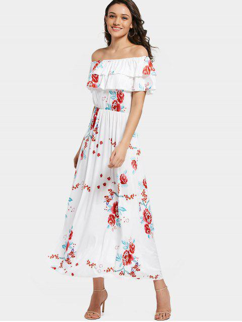 ladies Off Shoulder Tiered Flounce Floral Maxi Dress - WHITE 2XL Mobile