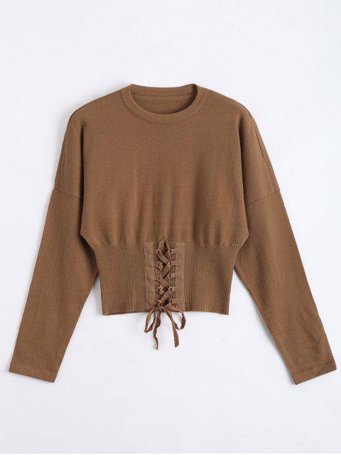 Sweater Lacé Tissé Court - Café TAILLE MOYENNE Mobile