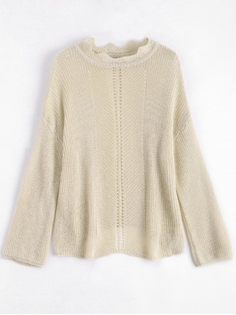 womens Scalloped Chunky Sweater - APRICOT ONE SIZE Mobile