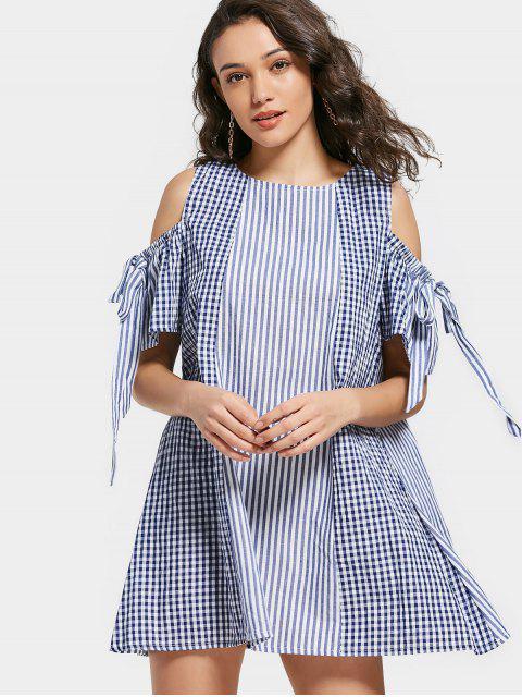 Robe Courte Rayée à Carreaux à épaules Nues - Bleu Violet L Mobile