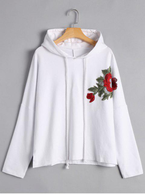 shop Pullover Floral Applique Hoodie - WHITE M Mobile