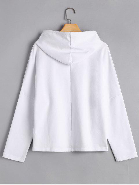 shop Pullover Floral Applique Hoodie - WHITE M Mobile