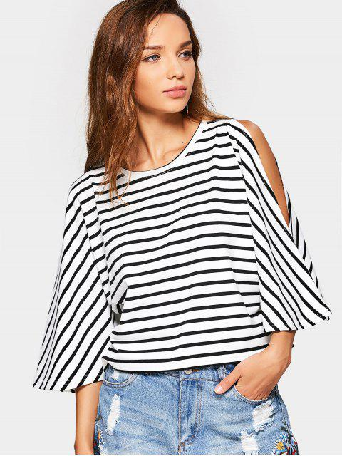 affordable Cold Shoulder Cut Out Striped Tee - STRIPE L Mobile
