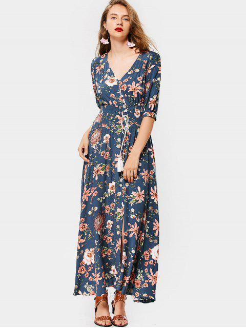 affordable Front Slit Floral Button Up Maxi Dress - BLUE L Mobile