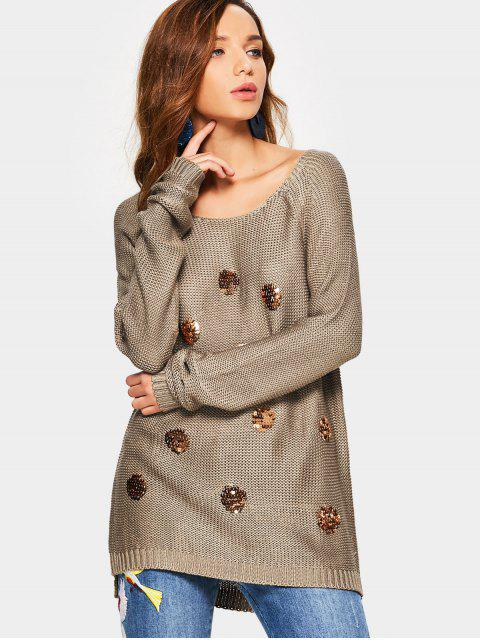 unique Knit Sequin Embellished Sweater - COFFEE ONE SIZE Mobile
