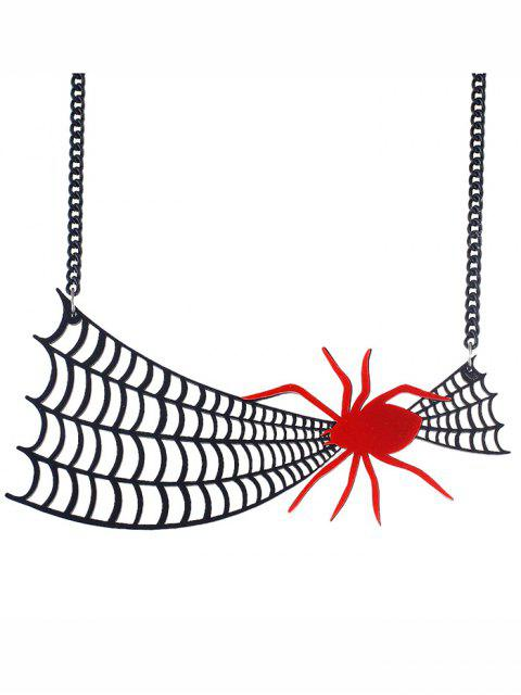 Halloween Statement Halskette mit Spinnennetz - Schwarz  Mobile