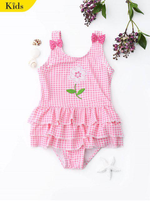 new Ruffle Embroidered Checked Kids Swimwear - PAPAYA 4T Mobile