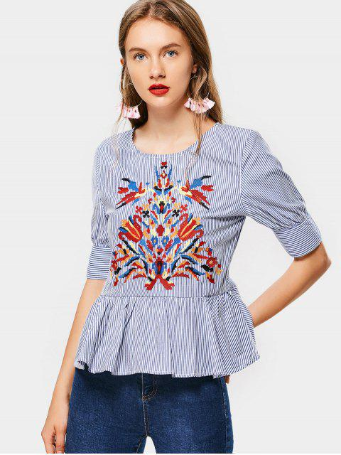 shops Floral Embroidered Stripes Flounces Blouse - STRIPE S Mobile
