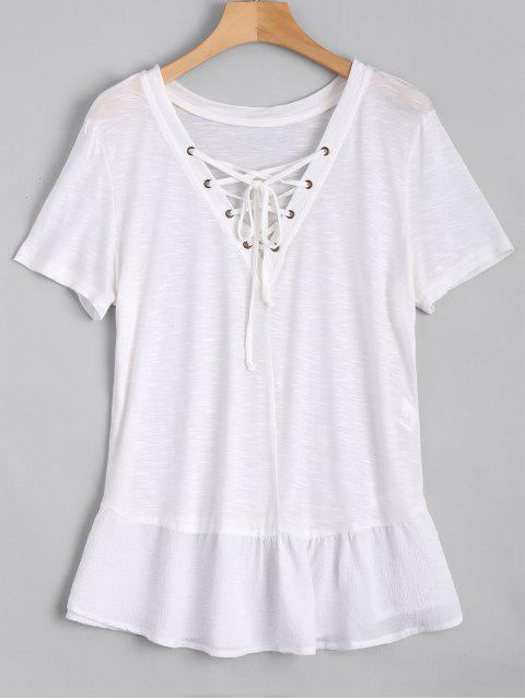 Ruffles Lace Up Casual Top - Blanc S Mobile