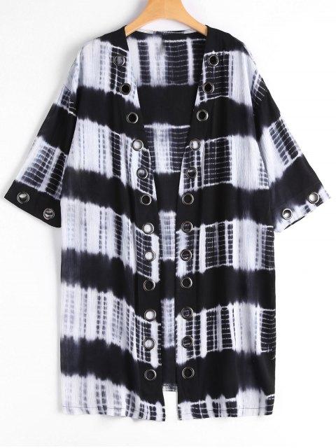 best Studded Tie Dye Kimono - BLACK XL Mobile