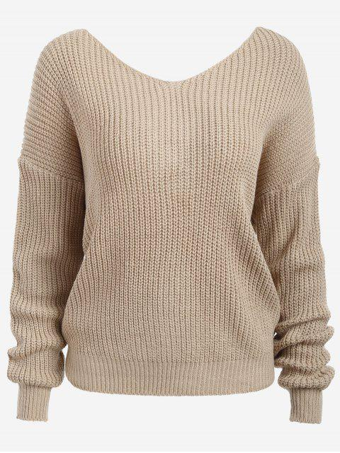 Twist V Neck Chunky Pullover - Aprikose Eine Größe Mobile