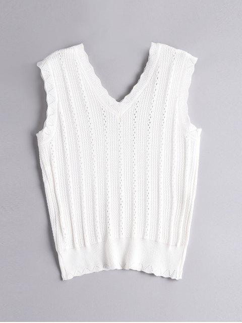Débardeur Tricoté et Creux - Blanc Taille Unique Mobile