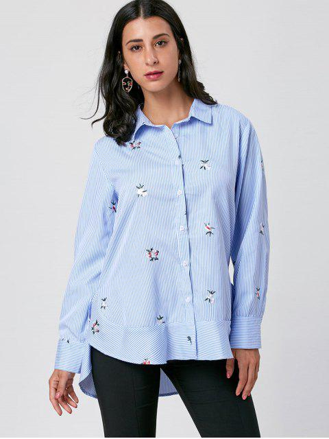 chic Striped Embroidery High Low Hem Shirt - BLUE STRIPE M Mobile