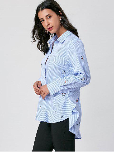 sale Striped Embroidery High Low Hem Shirt - BLUE STRIPE 2XL Mobile