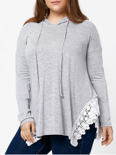 outfits Plus Size Hooded Lace Panel Slit Asymmetric T-shirt - GRAY 5XL Mobile