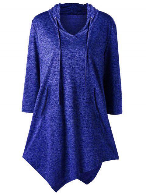 Plus Size Asymmetric Kangaroo Pocket Drawstring T-Shirt - Blau 4XL Mobile