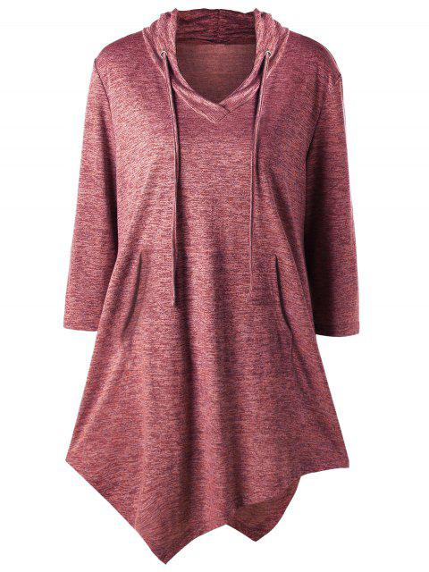 Plus Size Asymmetric Kangaroo Pocket Drawstring T-Shirt - Weinrot 2XL Mobile