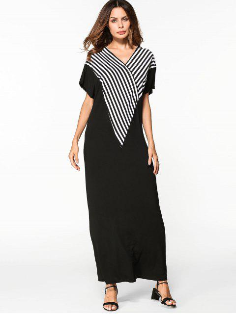 online V Neck Striped Shift Maxi Dress - BLACK XL Mobile