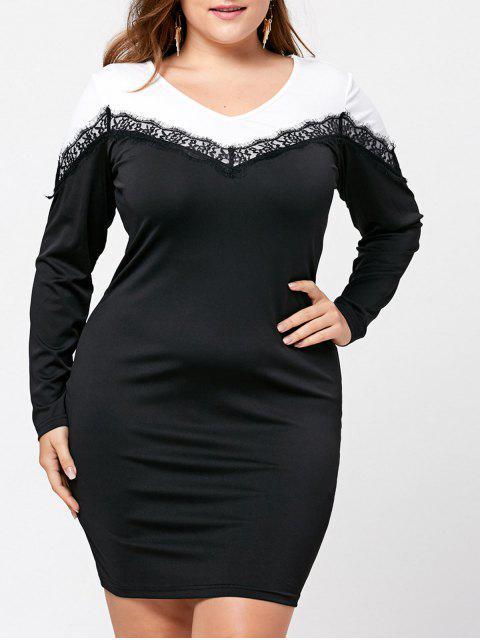 Plus Size Langarm Zwei Tone Kleid - Schwarz 2XL Mobile