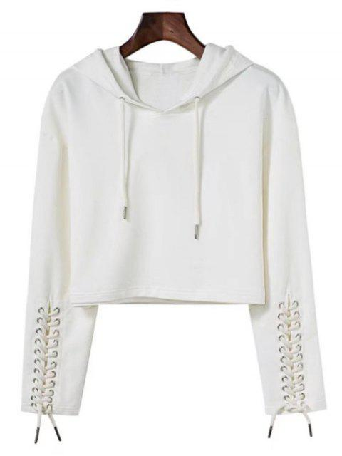 fashion Cropped Lace Up Sleeve Sporty Hoodie - WHITE S Mobile