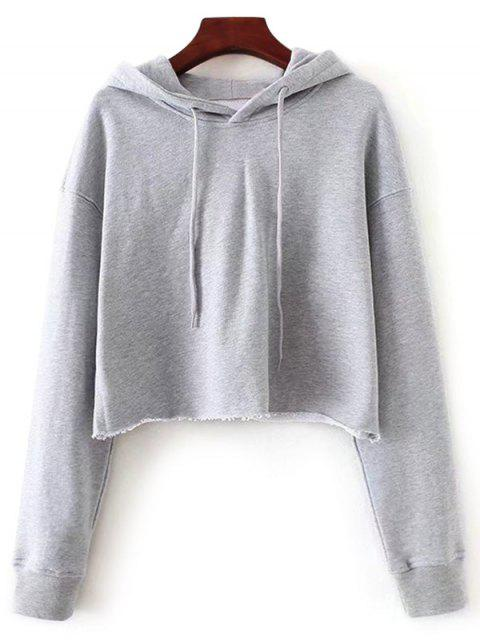 online Pullover Cropped Sporty Hoodie - GRAY L Mobile