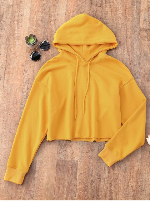 shop Pullover Cropped Sporty Hoodie - MUSTARD S Mobile