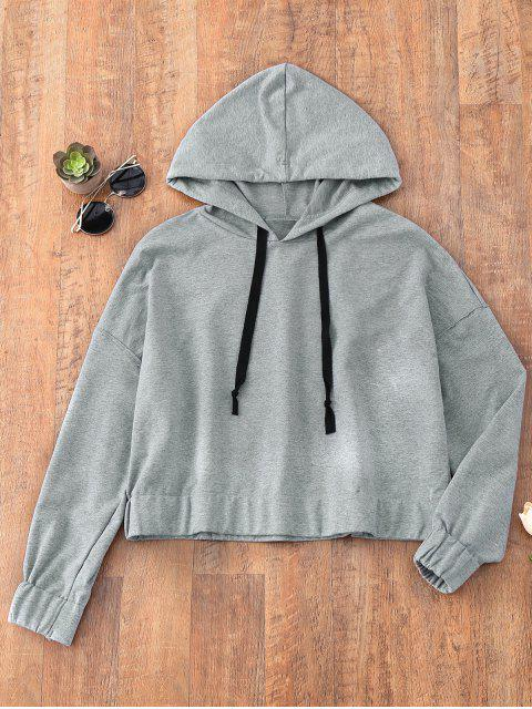 latest Drawstring Elastic Hem Sporty Hoodie - GRAY M Mobile