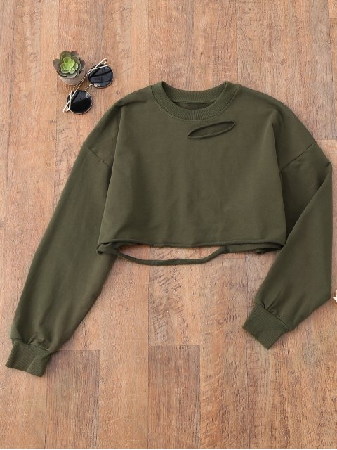 fancy Ripped Cropped Sweatshirt - ARMY GREEN ONE SIZE Mobile
