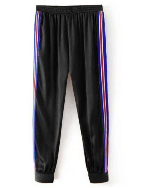 Sporty Striped Jogger Pants - Noir S Mobile