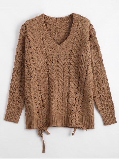 outfit Lace Up Chunky Knit Tunic Sweater - COFFEE ONE SIZE Mobile