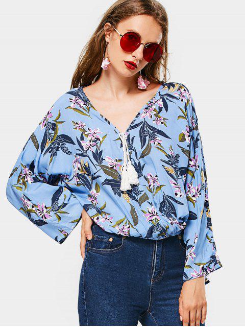 women's V Neck Floral Tassels Blouse - FLORAL S Mobile