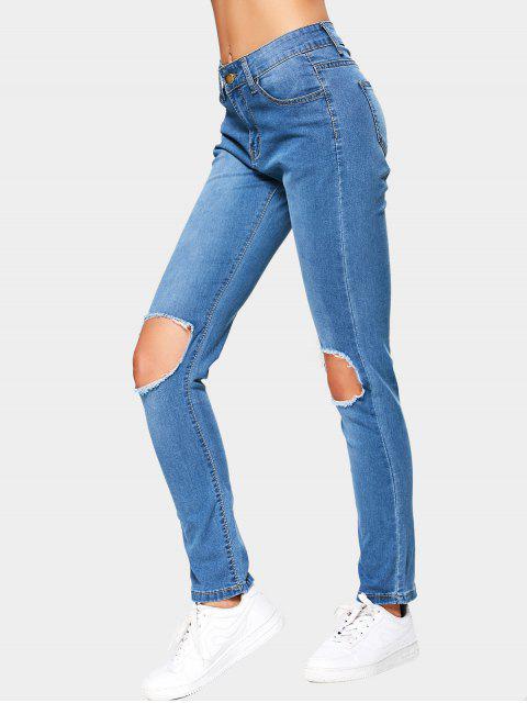 fancy Cut Out High Waist Jeans - BLUE XL Mobile