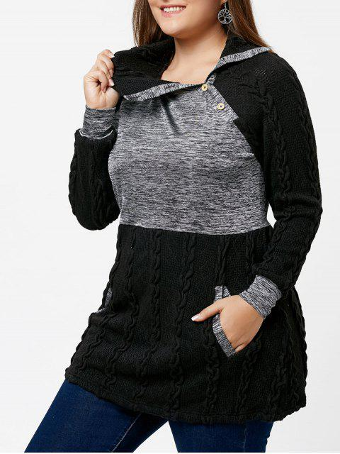affordable Plus Size Cable Knit Sweater with Pockets - BLACK 2XL Mobile